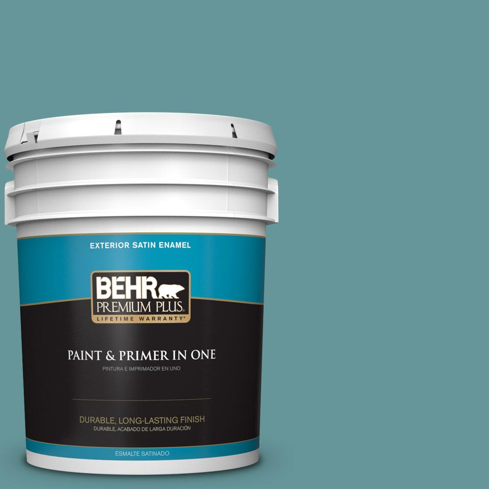 Behr premium plus 5 gal mq6 33 vintage teal satin enamel exterior paint and primer in one for Best exterior paint and primer in one