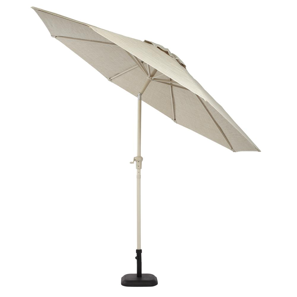 Hampton Bay Statesville 9 Ft Aluminum Crank And Tilt Round Patio Umbrella In Dove