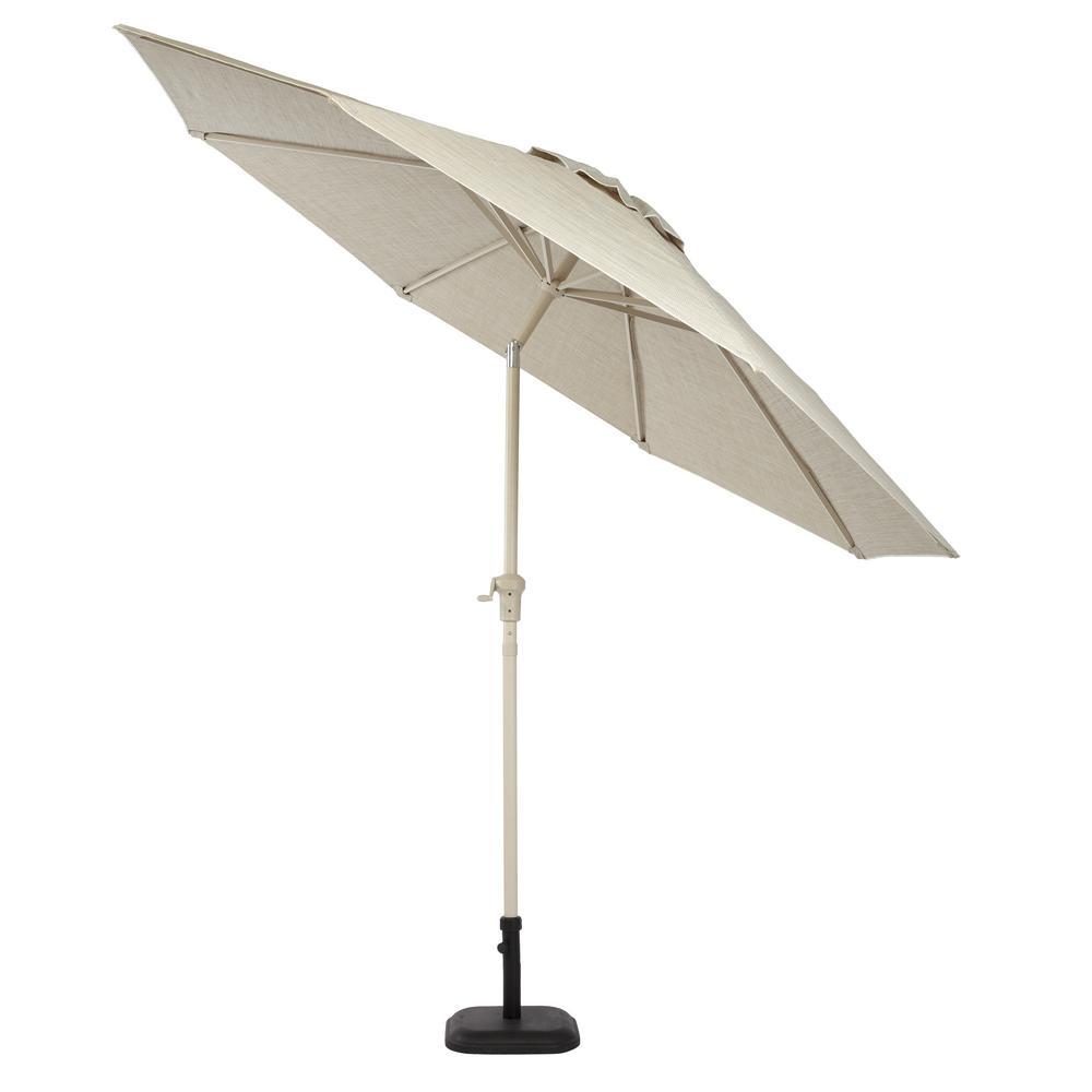 Statesville 9 ft. Aluminum Crank and Tilt Round Patio Umbrella in Dove