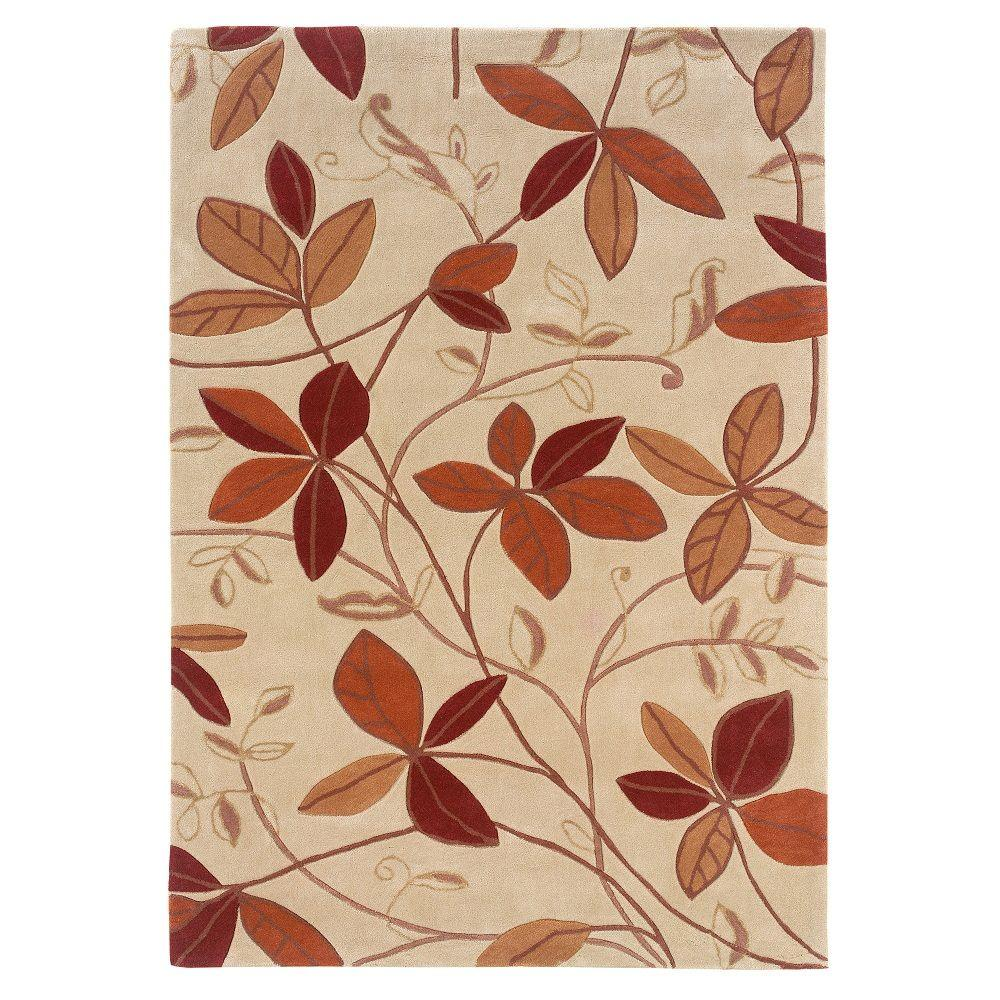 Linon Home Decor Trio Collection Tan And Rust 5 Ft X 7 Ft Indoor Area Rug Rug Tad0257 The