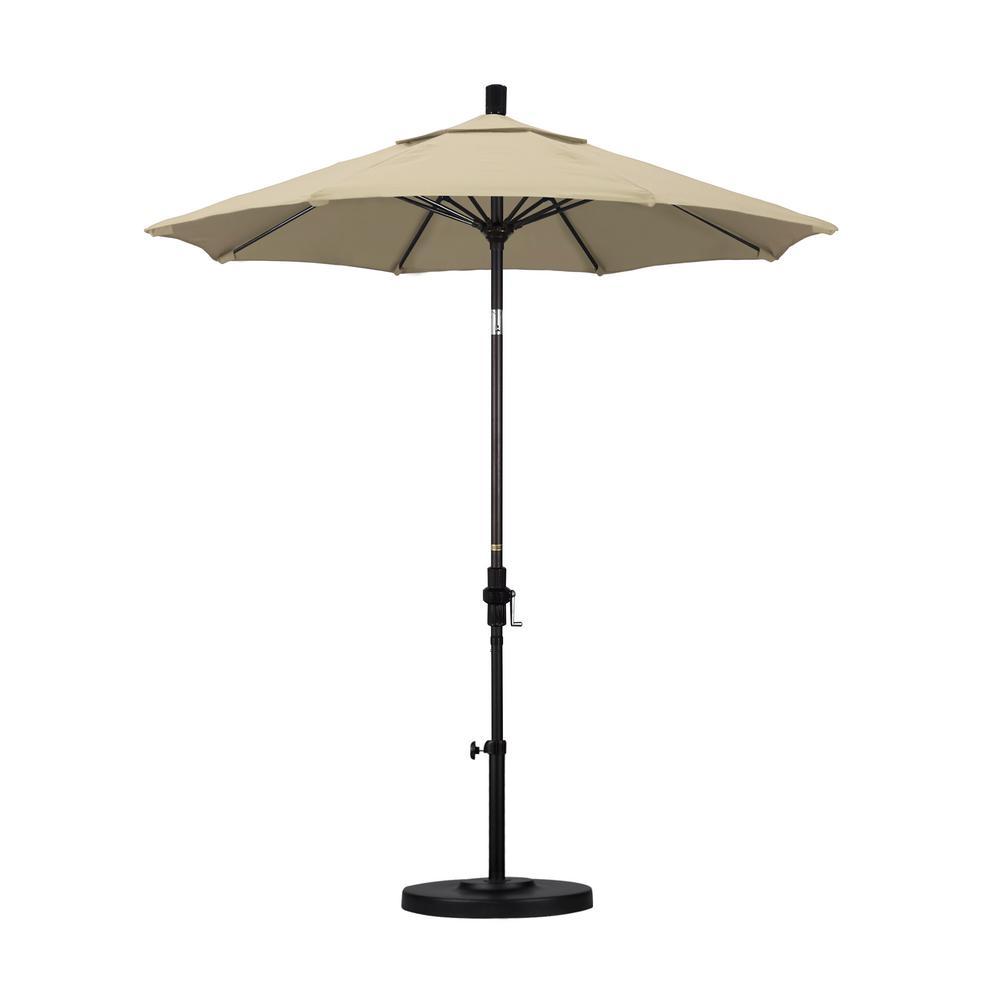 7.5 ft. Bronze Aluminum Pole Fiberglass Ribs Market Collar Tilt Crank Lift Outdoor Patio Umbrella in Beige Sunbrella