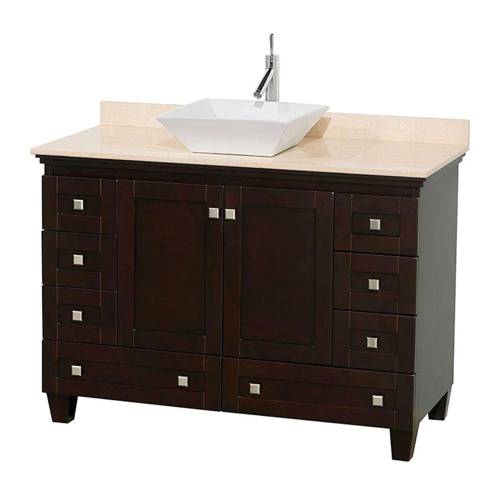 Wyndham Collection Acclaim 48 in. W Vanity in Espresso with Marble Vanity Top in Ivory and White Sink