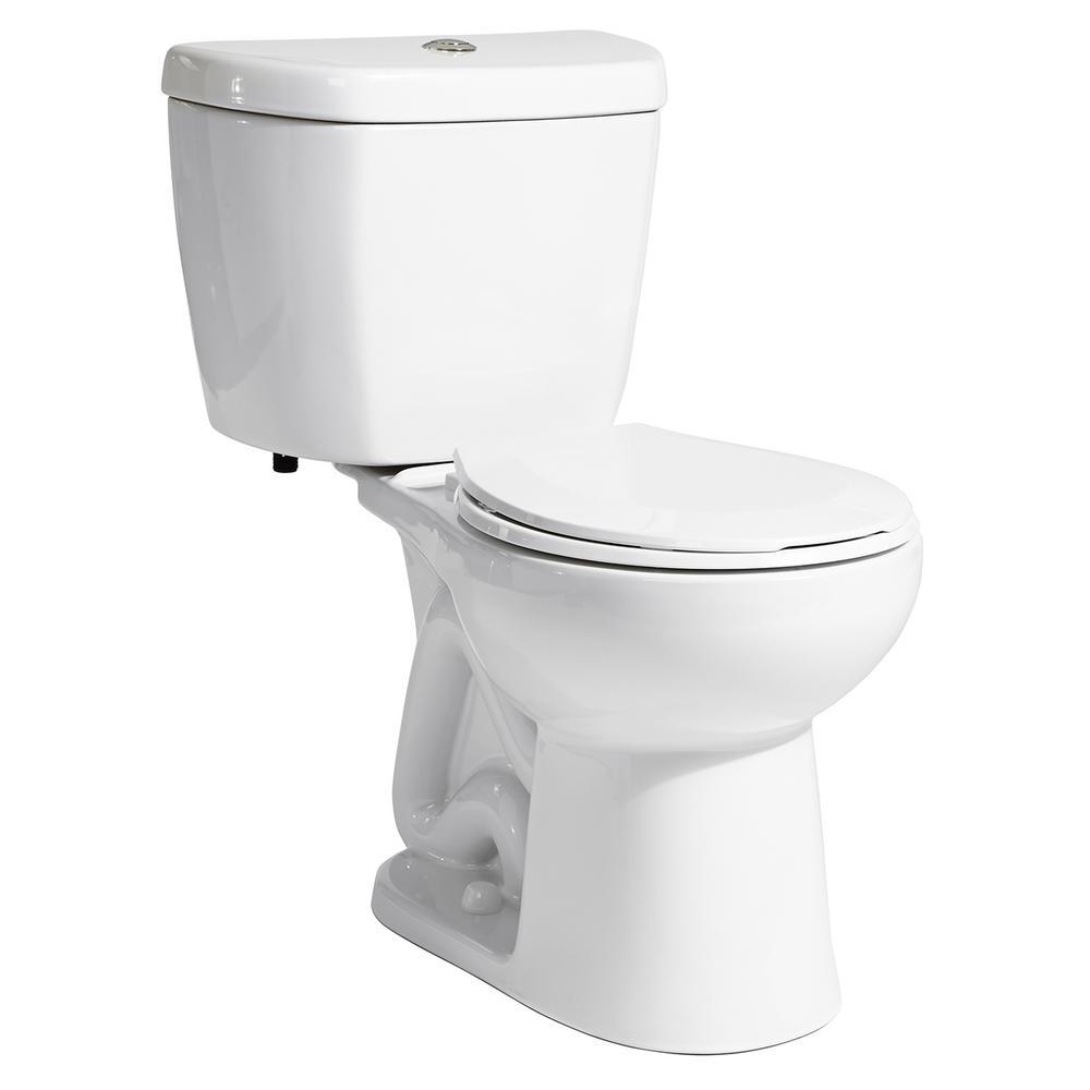 2-Piece 0.8 GPF Single Flush Round Bowl Toilet in White