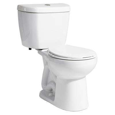 2-Piece 0.8 GPF Single Flush Round Bowl Toilet in White