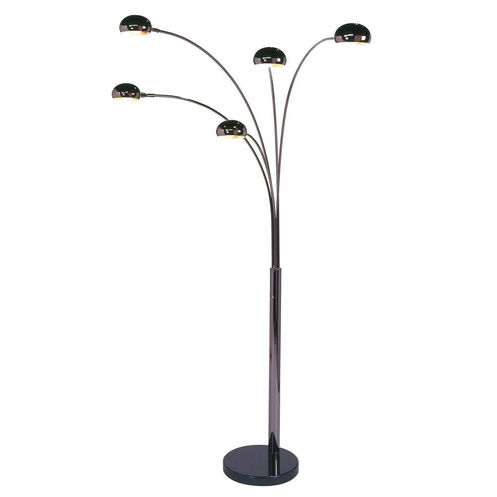 Nova mushroom 85 in black nickel arc lamp with 5 lights 4035 the black nickel arc lamp with 5 lights aloadofball Choice Image