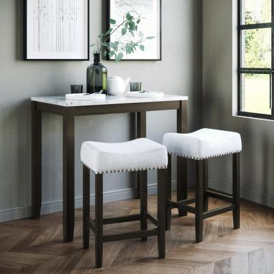 Viktor Three Piece Dining Set Kitchen Pub Table White Marble Top, Dark Brown Solid Wood Base, Light Gray Fabric Seat