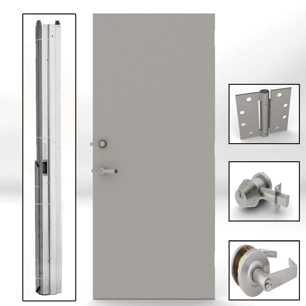 32 in. x 80 in. Gray Flush Steel Security Commercial Door