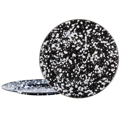 12.5 in. Black Swirl Enamelware Round Chargers (Set of 2)