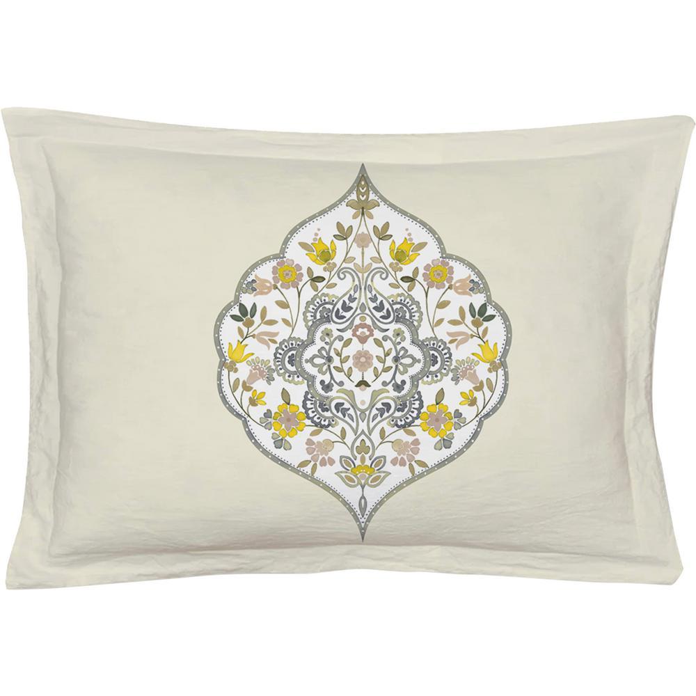 Gracia Yellow/Green Queen Pillow Cover (Set of 2)