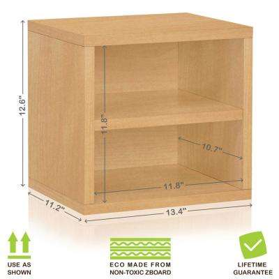 Connect System 13.4 in. x 12.6 in. zBoard Stackable Storage 1-Cube Organizer Unit with Shelf in Natural Grain