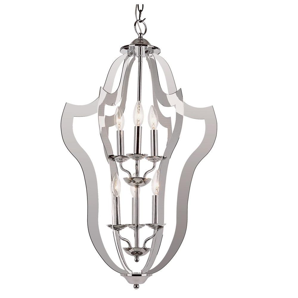 Bel Air Lighting 4-Light Polished Chrome Laser Cut Birdcage Pendant