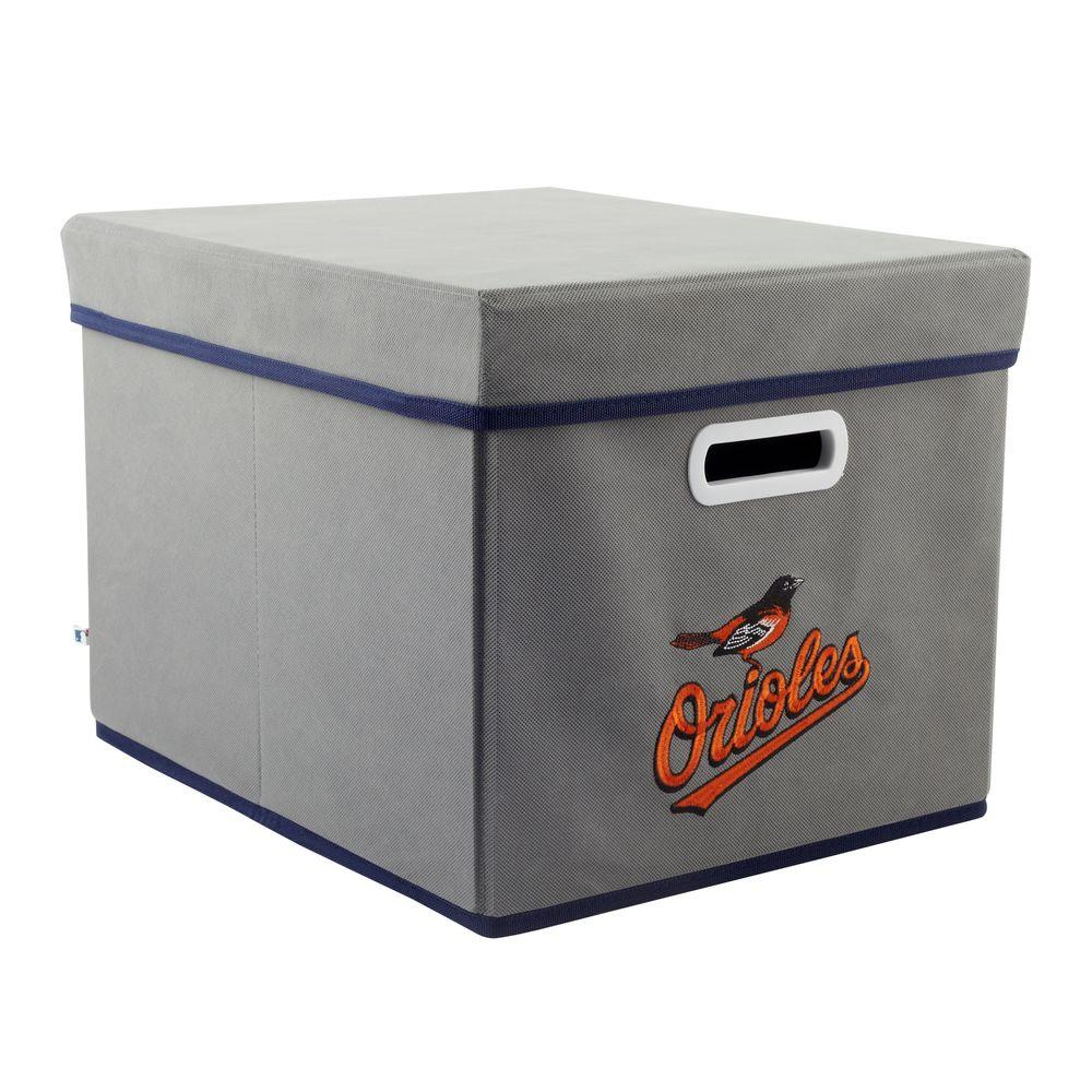 MyOwnersBox MLB STACKITS Baltimore Orioles 12 in. x 10 in. x 15 in. Stackable Grey Fabric Storage Cube