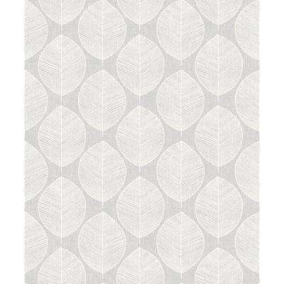 Scandi Leaf Grey Wallpaper