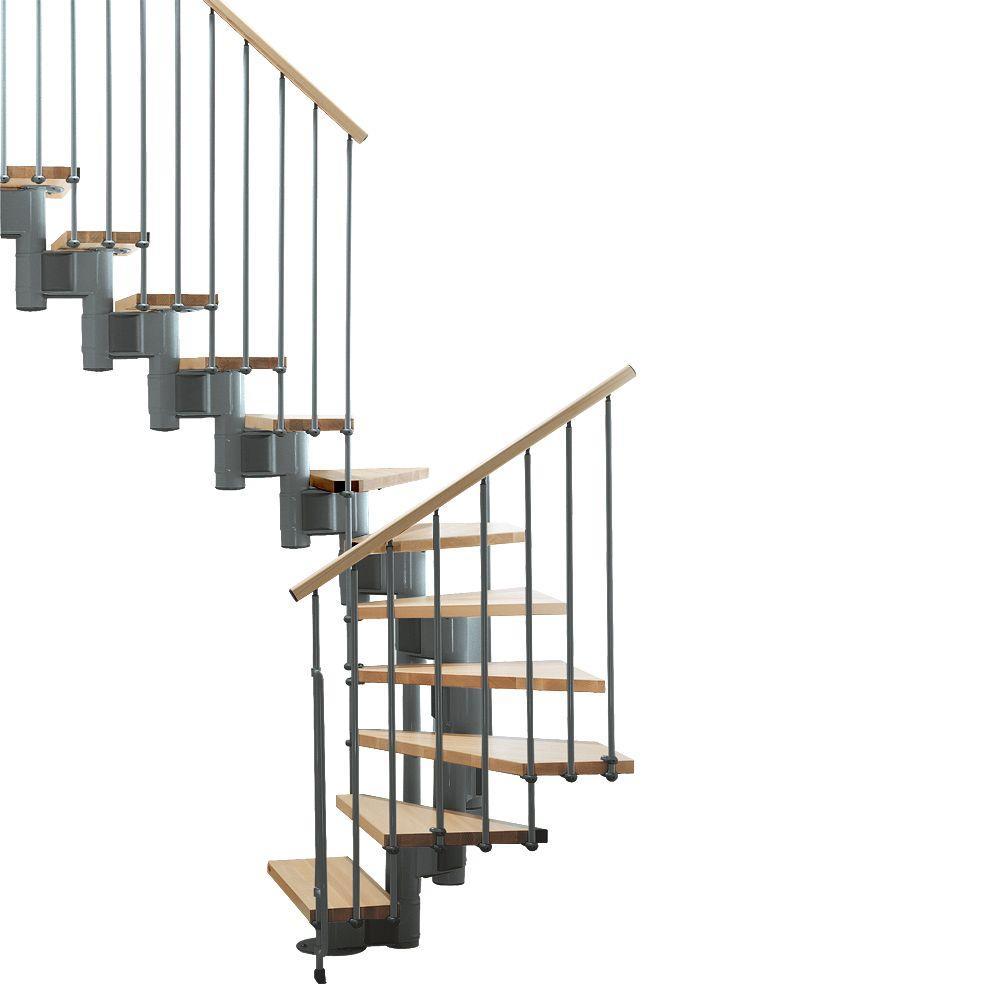 """Arke Kompact 35 in. Grey Modular Staircase """"U"""" Kit"""