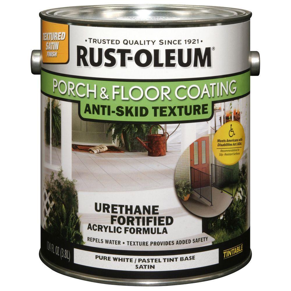 Rust oleum porch and floor 1 gal pure white anti skid satin 50 voc exterior solid stain case for Rustoleum exterior concrete paint