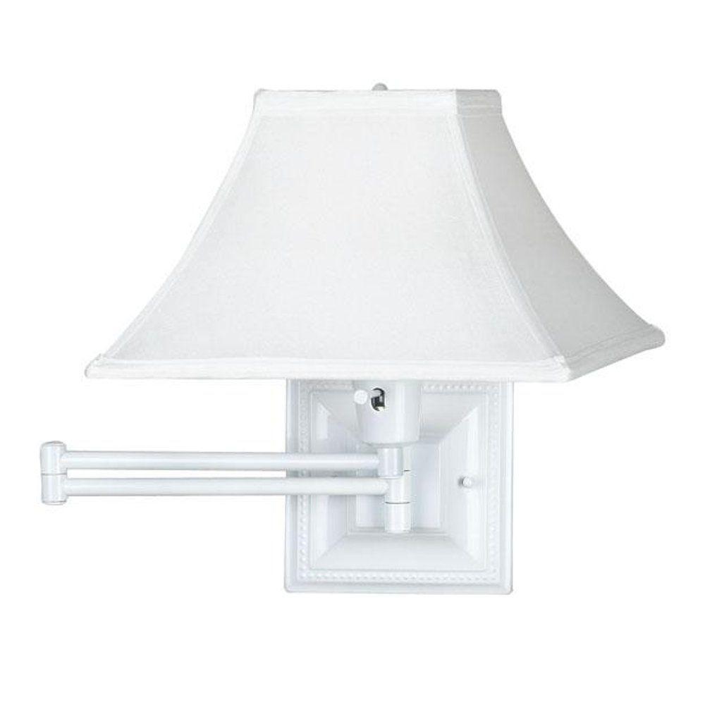 Elegant Kingston 1 Light White Swing Arm Pin Up Lamp