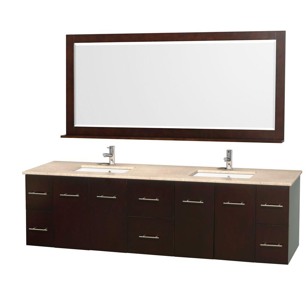 Double Vanity In Espresso With Marble Vanity Top In Ivory