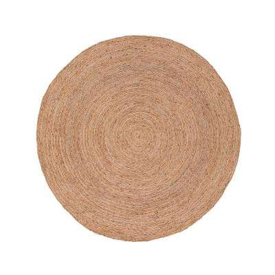 Natural Almond Buff 8 ft. x 8 ft. Solid Round Area Rug