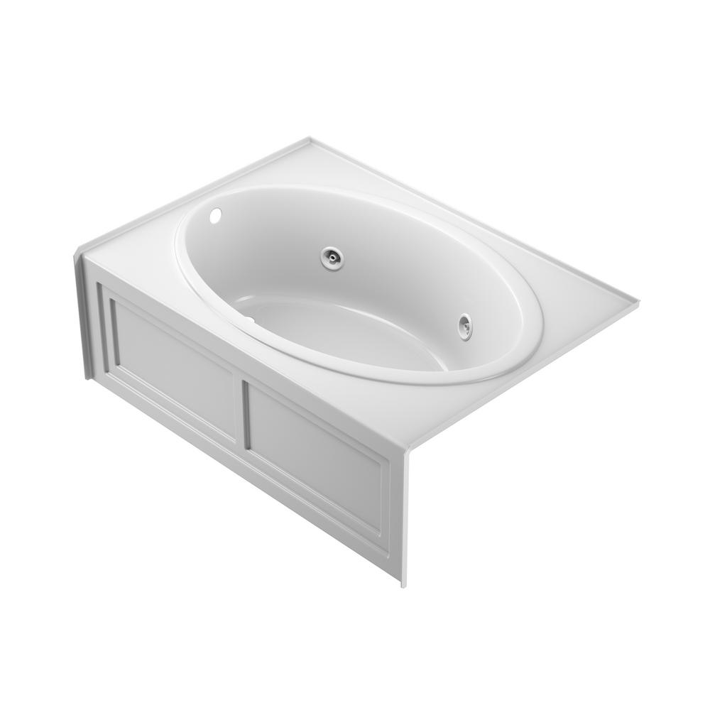 Jacuzzi Nova 60 In X 42 In Acrylic Left Hand Drain Rectangular Alcove Whirlpool Bathtub In White Nvs6042wlr2xxw The Home Depot