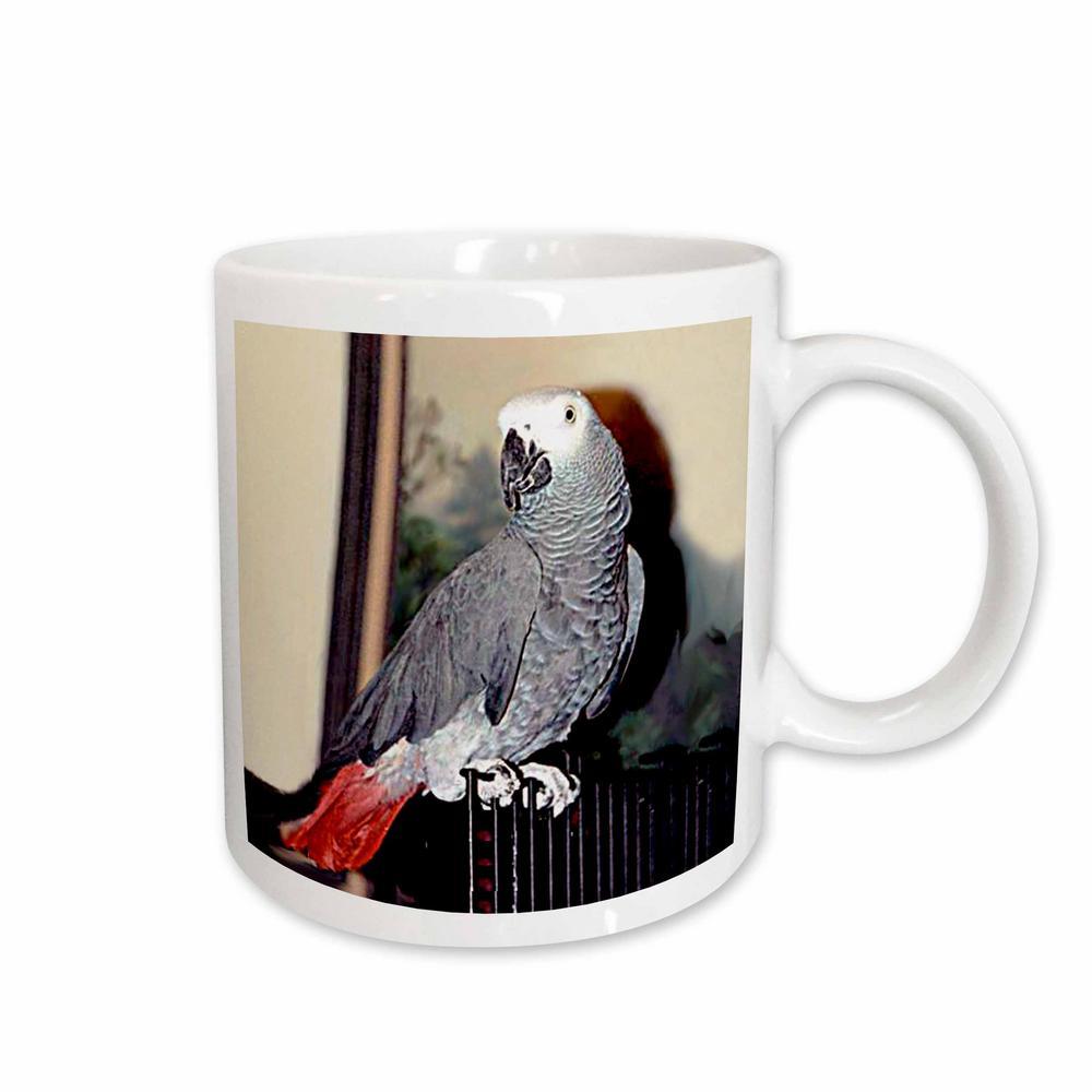 Birds 11 oz. White Ceramic African Grey Parrot Mug