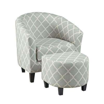 Gray Arm Chair with Ottoman