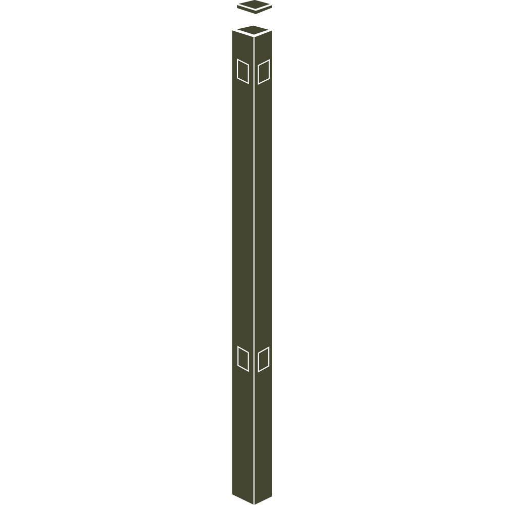 Allure Aluminum 70 in. Aluminum Bronze Fence Corner Post (1-Pack) Use With 48 in. Fence