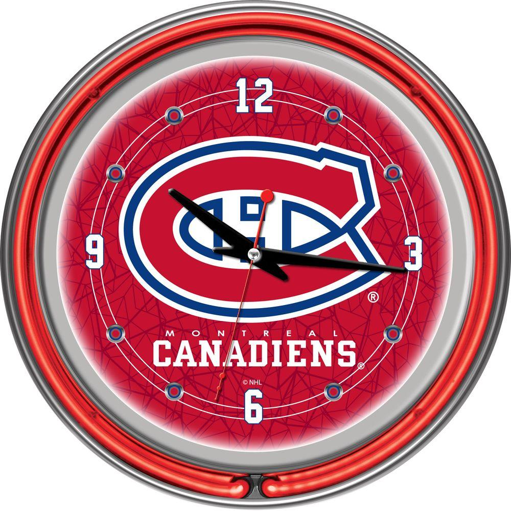 Trademark Global 14 in. Montreal Canadiens NHL Neon Wall Clock