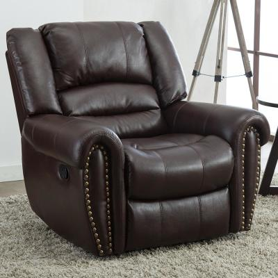 Brown Recliner Chair Faux Leather Oversized Reclining Sofa Heavy Duty and Overstuffed Arms and Back Classic Recliners