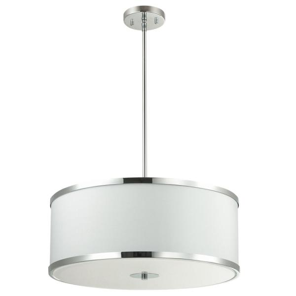Zuri 4-Light Polished Chrome Pendant with Fabric Shades