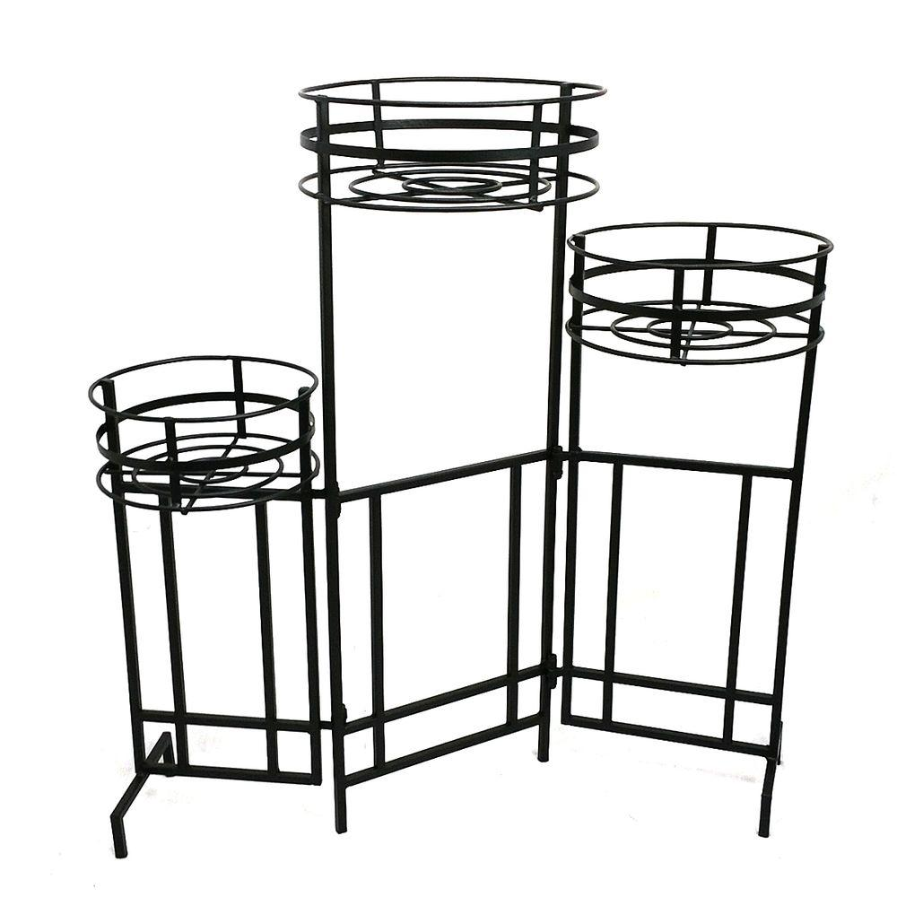 Charming Patio Life Mission Pro 9 In. Dia Black Steel 3 Tier Plant Stand
