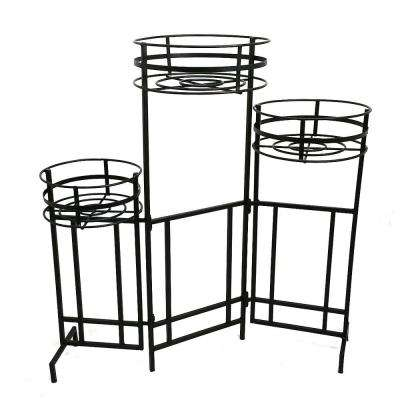 Mission Pro 9 in. Dia Black Steel 3-Tier Plant Stand
