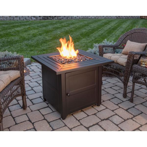 Endless Summer 30 In W Black Weather Resistant Steel Lp Gas Outdoor Fire Pit With Electronic Ignition And Black Fire Glass Gad1423m The Home Depot