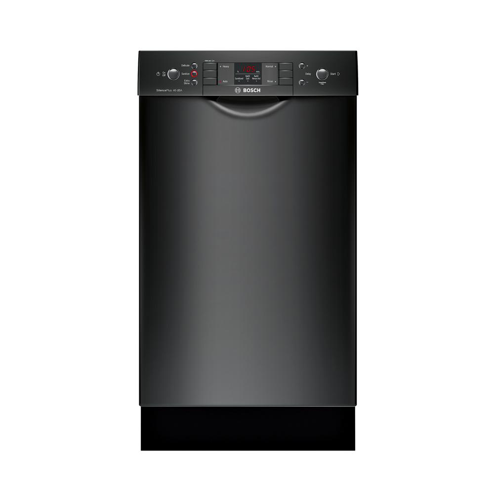 Bosch 300 Series 18 in. Compact Front Control Tall Tub Dishwasher in Black with Stainless Steel Tub, 46dBA Our 18 in. ADA-compliant dishwashers are uniquely designed for customers with special height requirements and feature sophisticated technologies for quiet operation, outstanding performance and remarkable flexibility. Color: Black.