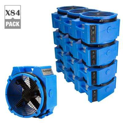PB-25 1/4 HP 3320 CFM Polar Axial Blower Fan High Velocity Air Mover for Water Damage Restoration in Blue (84-Pack)