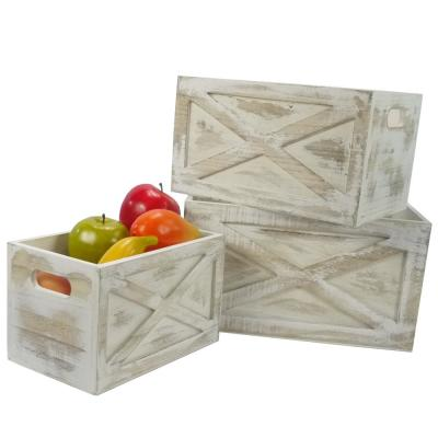 White Rustic Barn Door Style Home Décor Nesting Storage Organizer Wooden Crates (Set of 3)