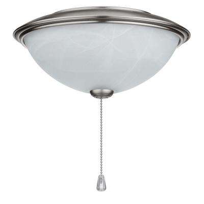 Alabaster Glass Contemporary Bowl Ceiling Fan Light Kit with Brushed Steel Trim