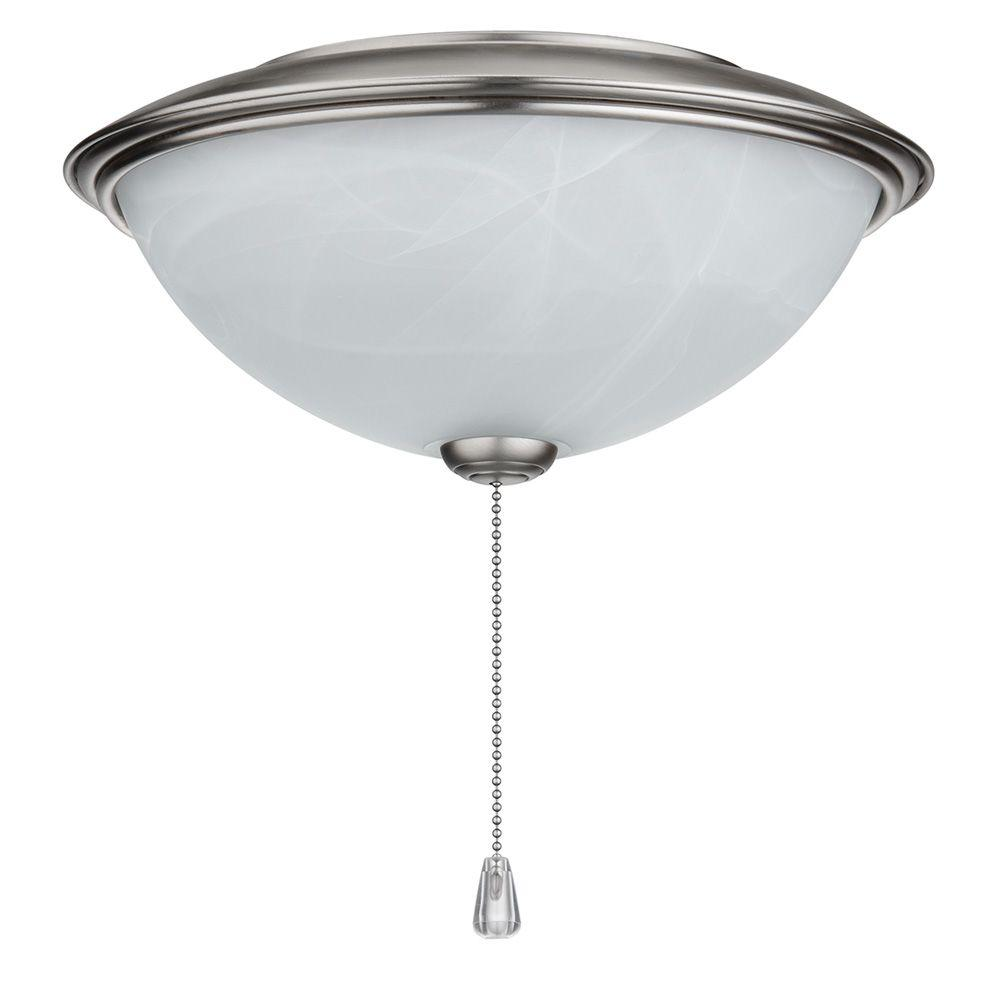NuTone Alabaster Glass Contemporary Bowl Ceiling Fan Light Kit with Brushed Steel Trim