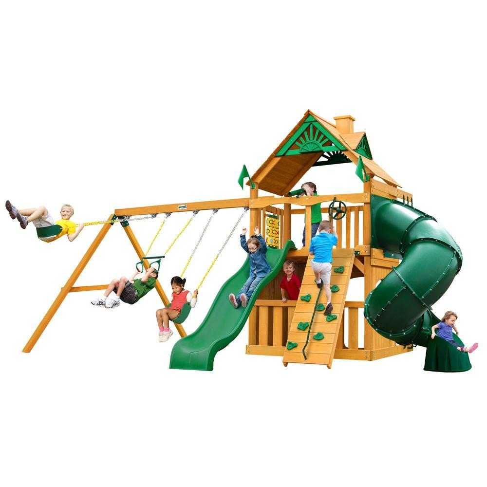 Mountaineer Clubhouse Swing Set with Amber Posts