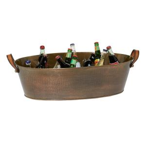 Gold Beverage and Ice Bucket and Wine Cooler with Copper Finish 31 in. x 16 in. x 10 in.
