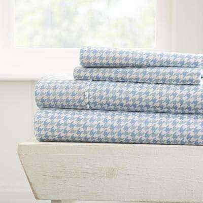 4-Piece Hounds Tooth Patterned Light Blue California King Performance Bed Sheet Set