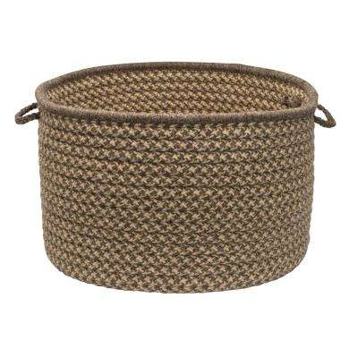 Natural Wool 24 in. x 24 in. x 14 in. Dogstooth Basket in Caramel