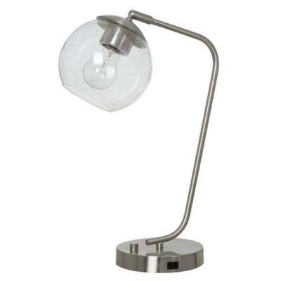 18 in. Brushed Nickel Desk Lamp with Clear Glass Shade and Power Outlet