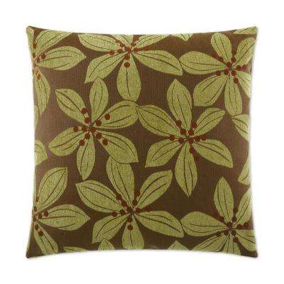 Tropical Leaf Green Feather Down 24 in. x 24 in. Standard Decorative Throw Pillow