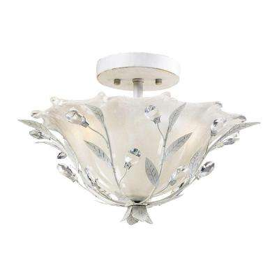 Circeo 2-Light Antique White Ceiling Semi-Flush Mount Light