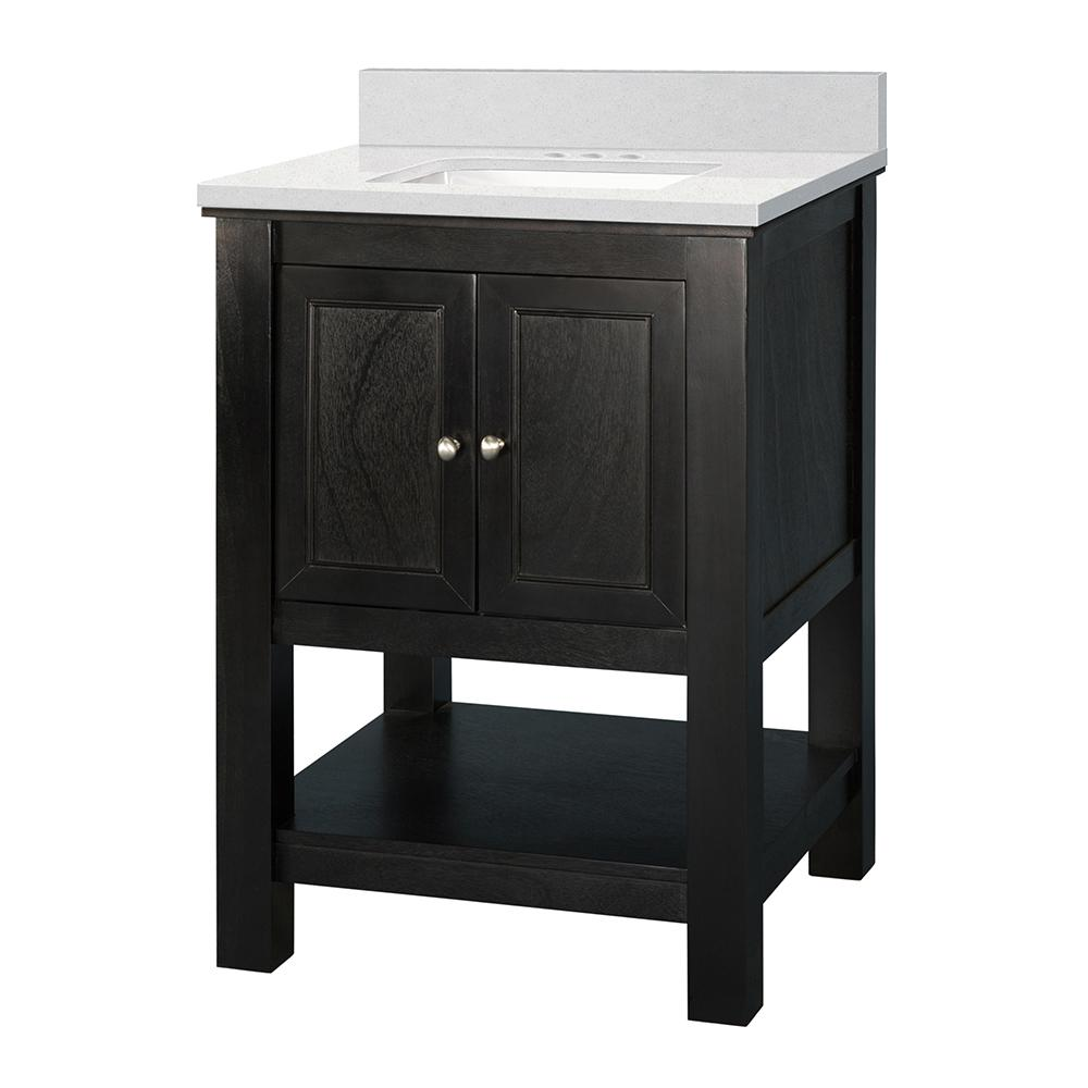 Home Decorators Collection Gazette 25 in. W x 22 in. D Vanity Cabinet in Espresso with Engineered Marble Vanity Top in Snowstorm with White Sink