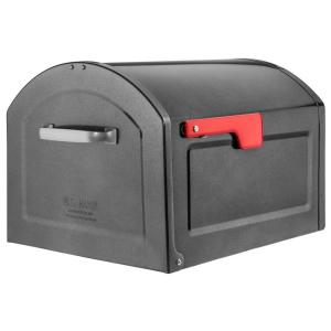 Architectural Mailboxes Centennial Metallic Pewter with Red Flag Extra Large Capacity Post Mount Mailbox by