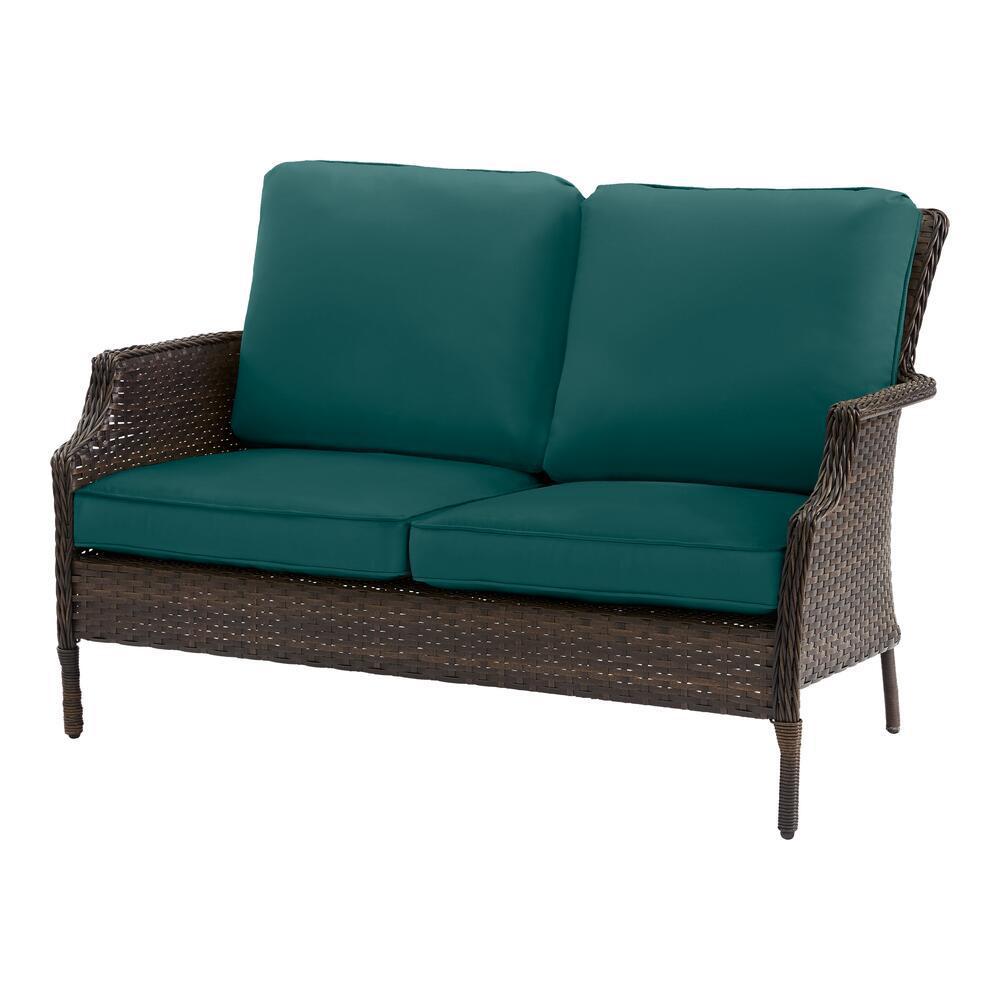 Grayson Brown Wicker Outdoor Patio Loveseat with CushionGuard Malachite Green Cushions