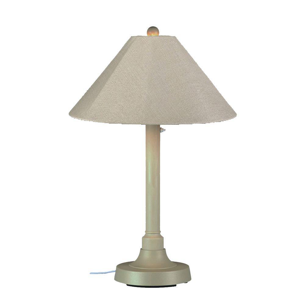 San Juan 34 in. Bisque Outdoor Table Lamp with Antique Beige