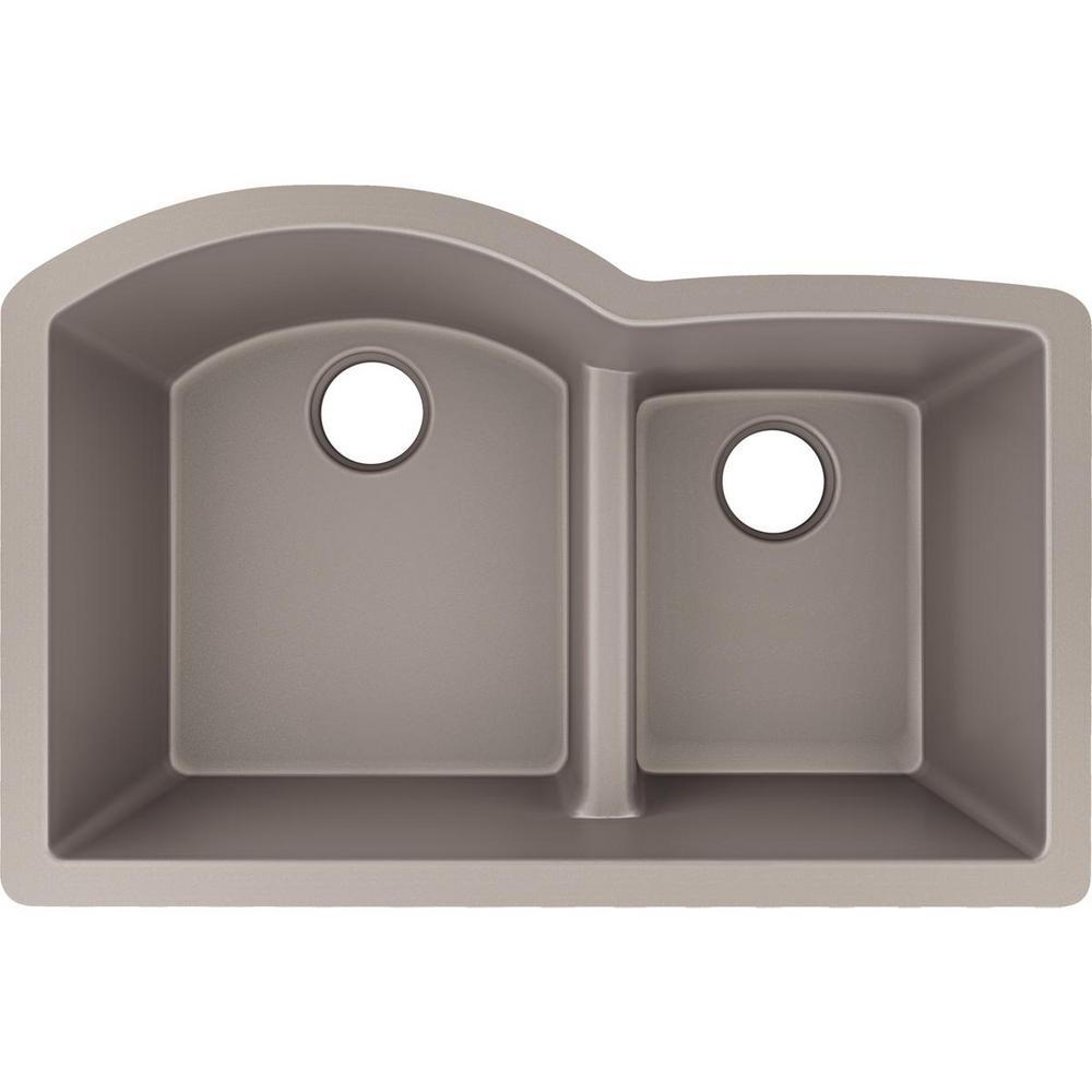 10de7b5028 Elkay Quartz Luxe Undermount 33 in. Double Bowl Kitchen Sink in Silvermist  with Aqua Divide