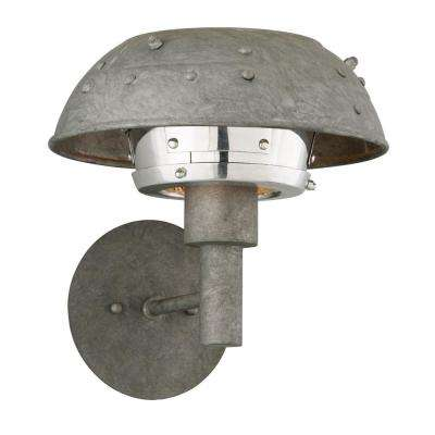 Idlewild 25-Watt Aviation Gray and Vintage Aluminum Integrated LED Sconce